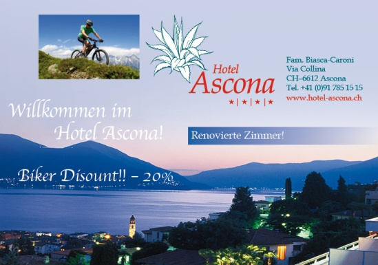 Hotel Ascona Mountain Bike paradise with 20% for you !